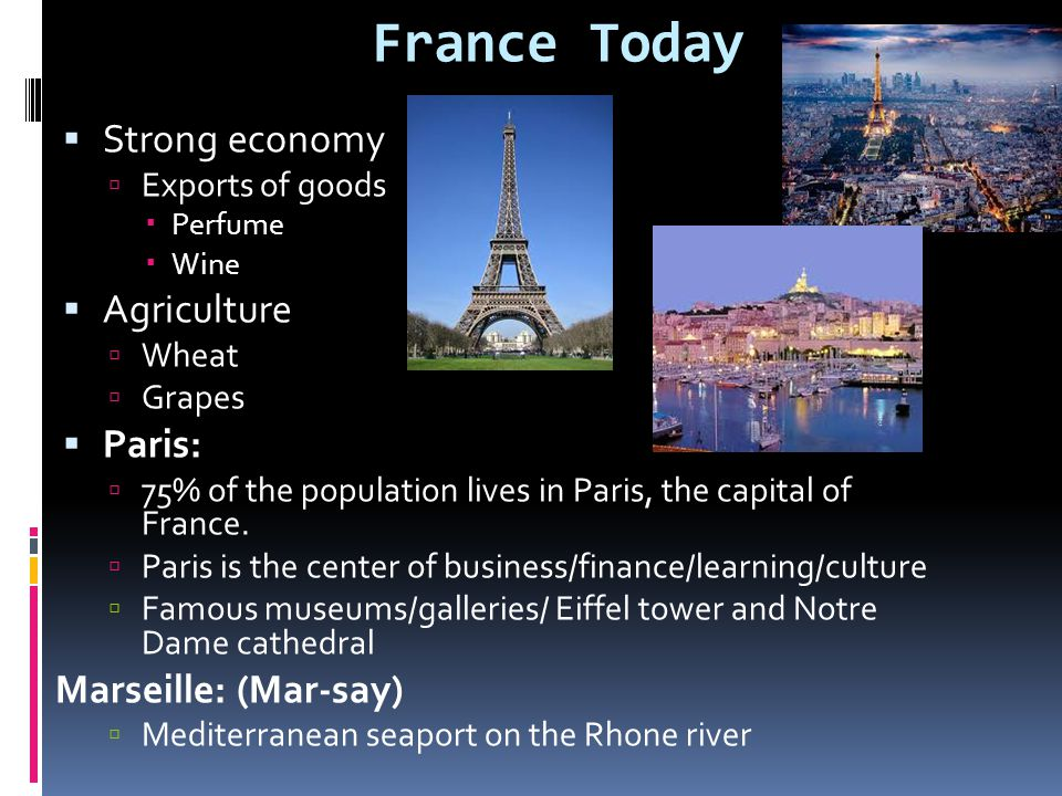 France Today  Strong economy  Exports of goods  Perfume  Wine  Agriculture  Wheat  Grapes  Paris:  75% of the population lives in Paris, the capital of France.