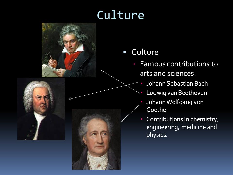 Culture  Culture  Famous contributions to arts and sciences:  Johann Sebastian Bach  Ludwig van Beethoven  Johann Wolfgang von Goethe  Contributions in chemistry, engineering, medicine and physics.