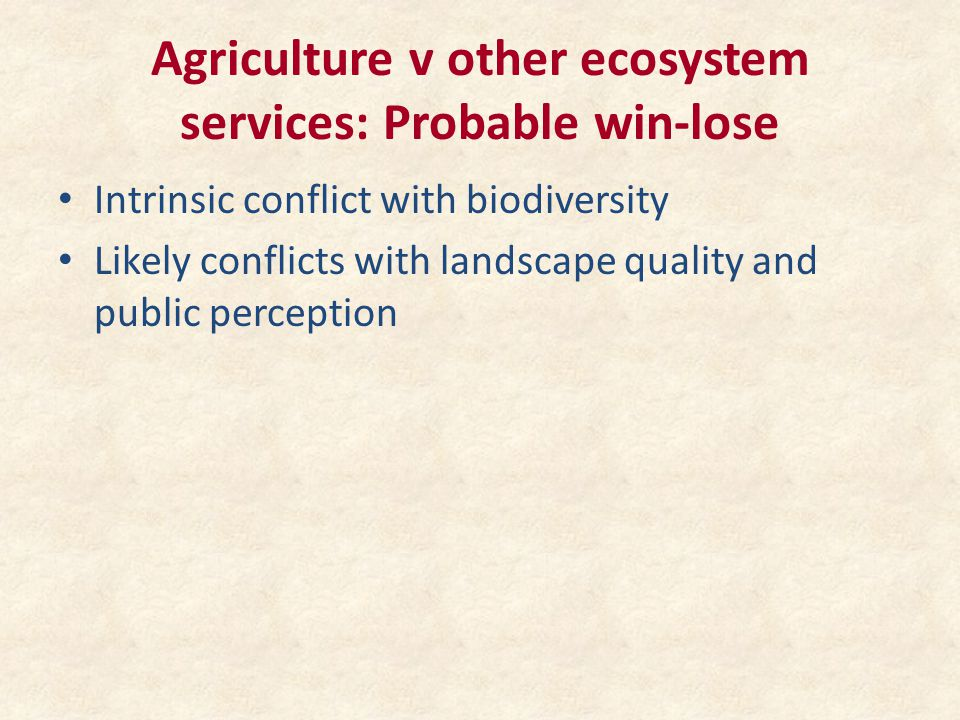 Agriculture v other ecosystem services: Probable win-lose Intrinsic conflict with biodiversity Likely conflicts with landscape quality and public perception