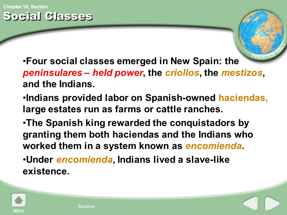 Chapter 10, Section Social Classes Four social classes emerged in New Spain: the peninsulares – held power, the criollos, the mestizos, and the Indian