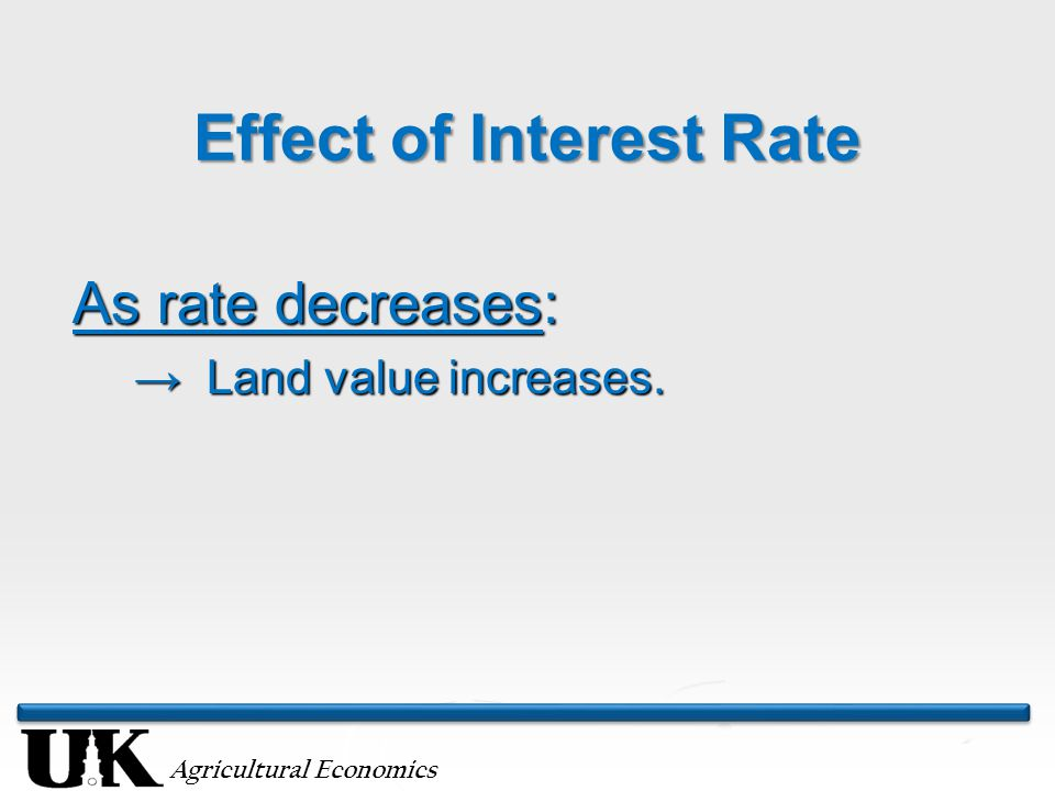 Agricultural Economics Effect of Interest Rate As rate decreases: → Land value increases.