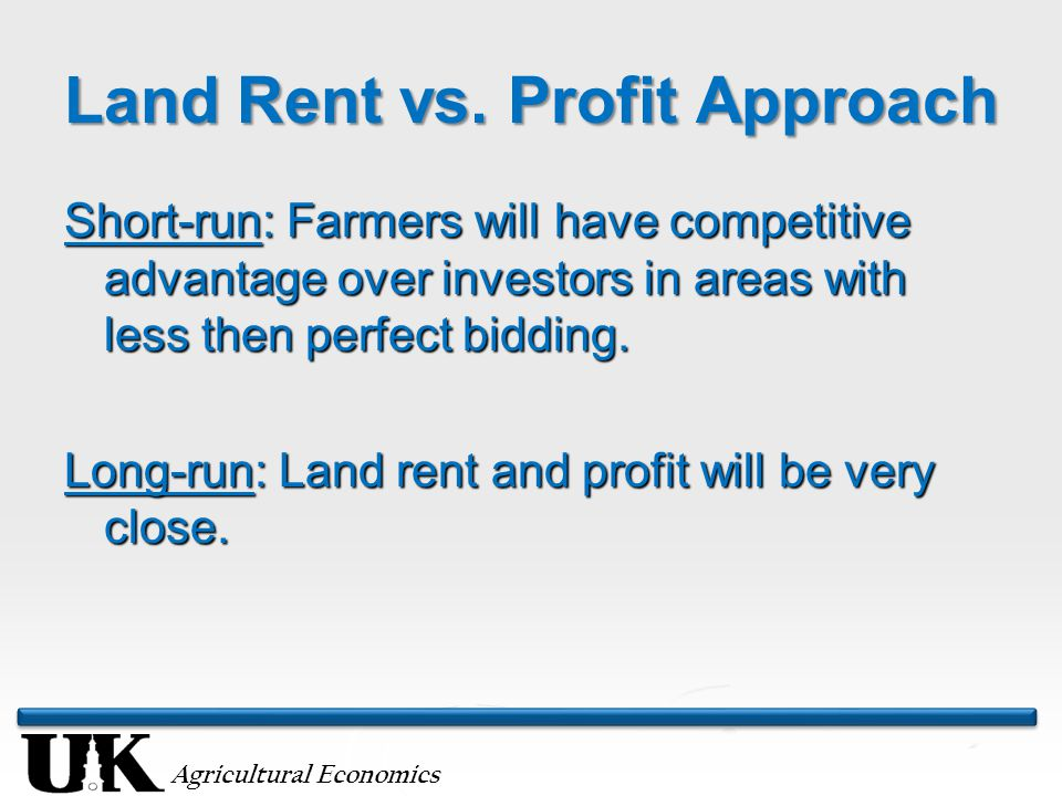 Agricultural Economics Land Rent vs.
