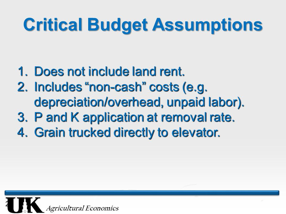 "Agricultural Economics Critical Budget Assumptions 20 1.Does not include land rent. 2.Includes ""non-cash"" costs (e.g. depreciation/overhead, unpaid la"