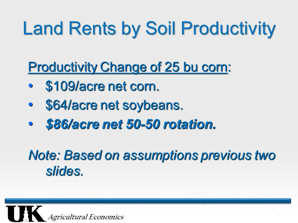 Agricultural Economics Land Rents by Soil Productivity Productivity Change of 25 bu corn: $109/acre net corn. $109/acre net corn. $64/acre net soybean