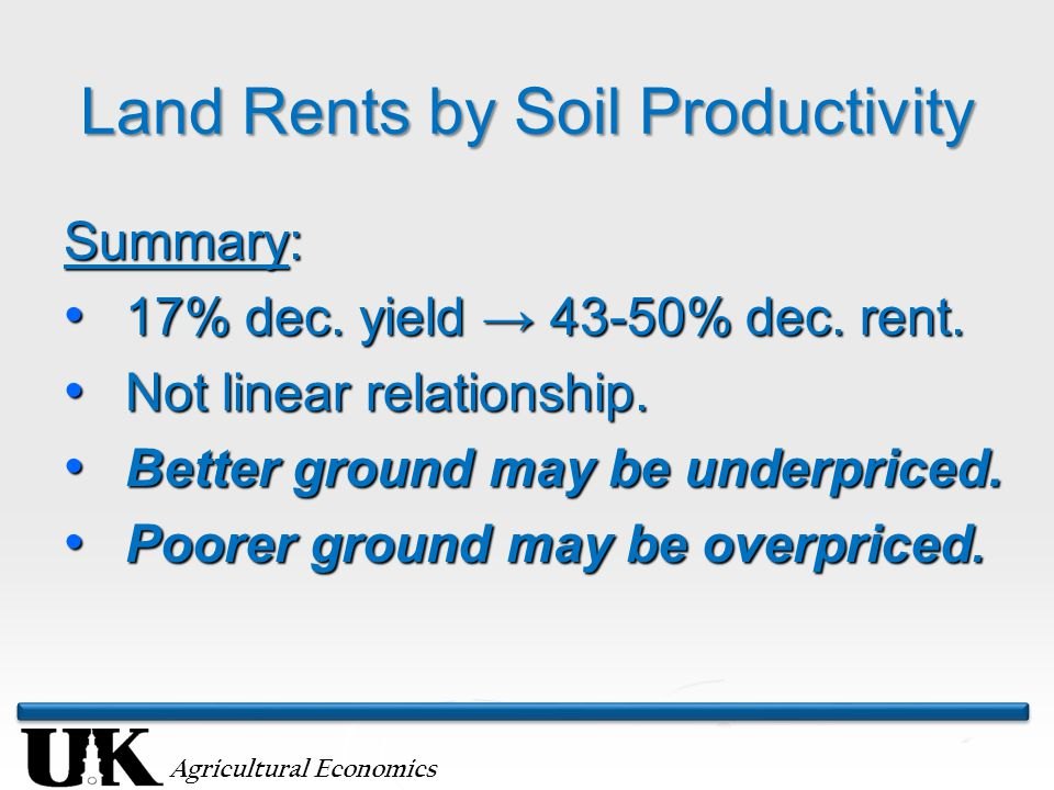 Agricultural Economics Land Rents by Soil Productivity Summary: 17% dec.