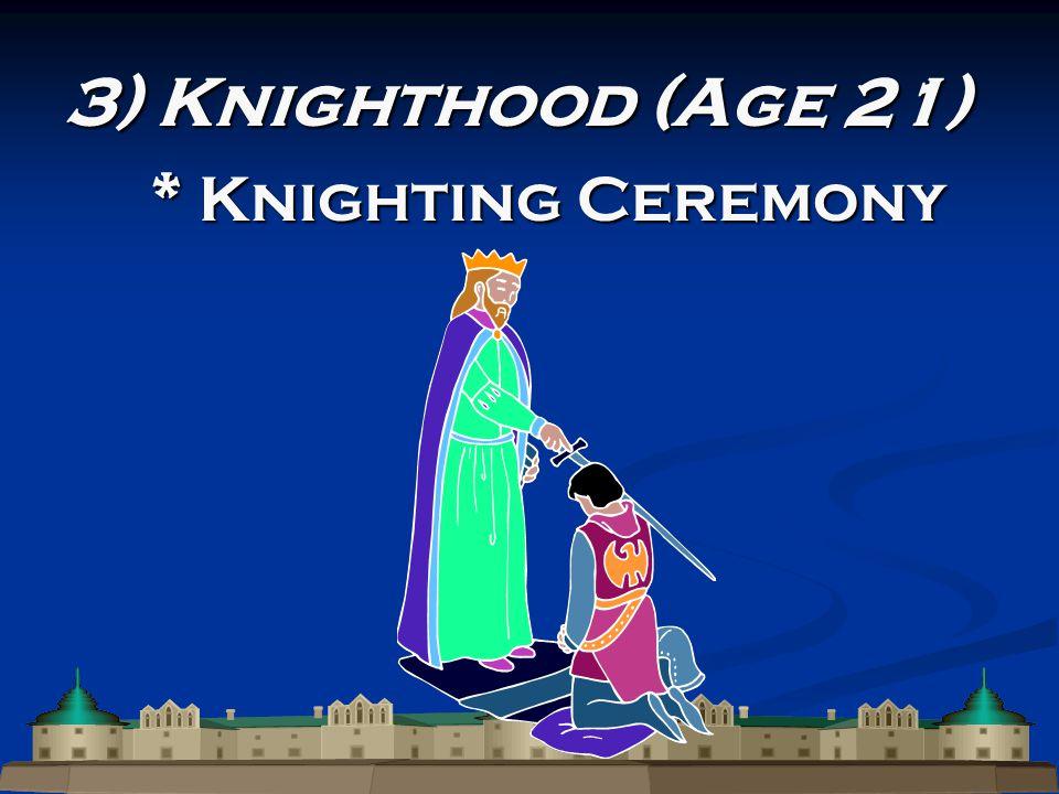 3) Knighthood (Age 21) * Knighting Ceremony