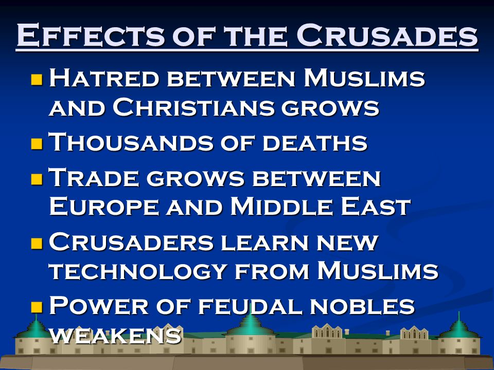 Effects of the Crusades Hatred between Muslims and Christians grows Hatred between Muslims and Christians grows Thousands of deaths Thousands of deaths Trade grows between Europe and Middle East Trade grows between Europe and Middle East Crusaders learn new technology from Muslims Crusaders learn new technology from Muslims Power of feudal nobles weakens Power of feudal nobles weakens