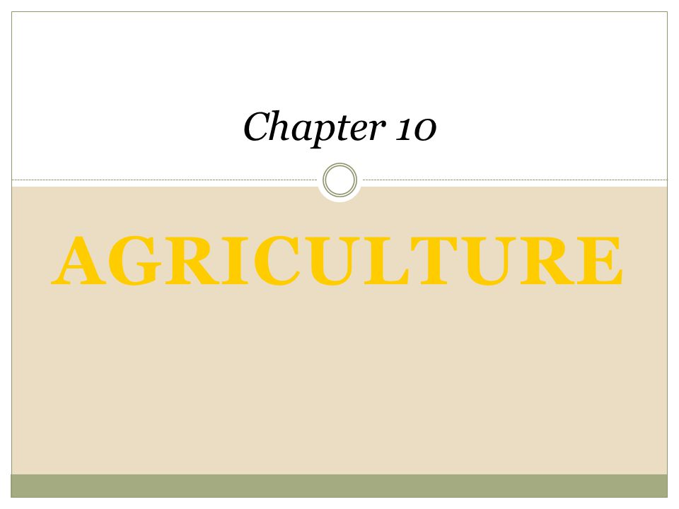 AGRICULTURE Chapter 10 An Introduction to Human Geography The Cultural Landscape, 8e James M. Rubenstein