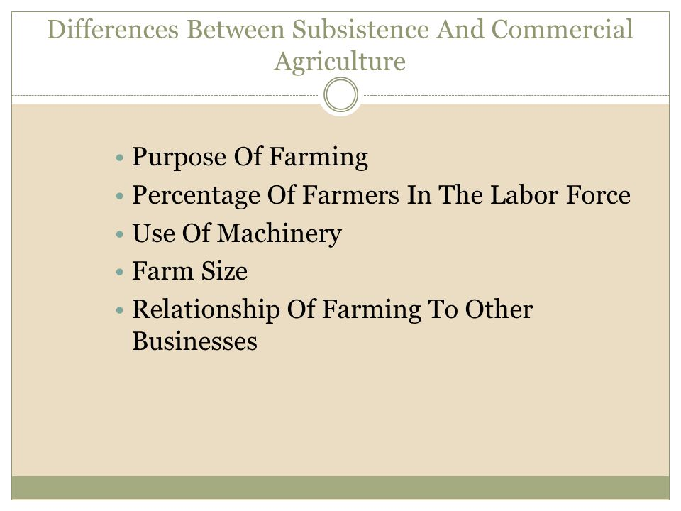Differences Between Subsistence And Commercial Agriculture Purpose Of Farming Percentage Of Farmers In The Labor Force Use Of Machinery Farm Size Rela