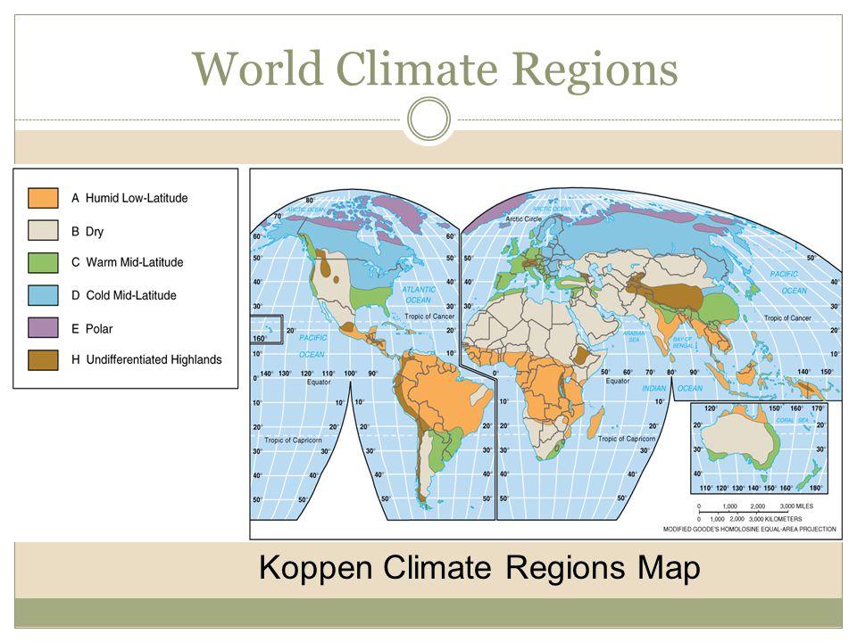 World Climate Regions Koppen Climate Regions Map