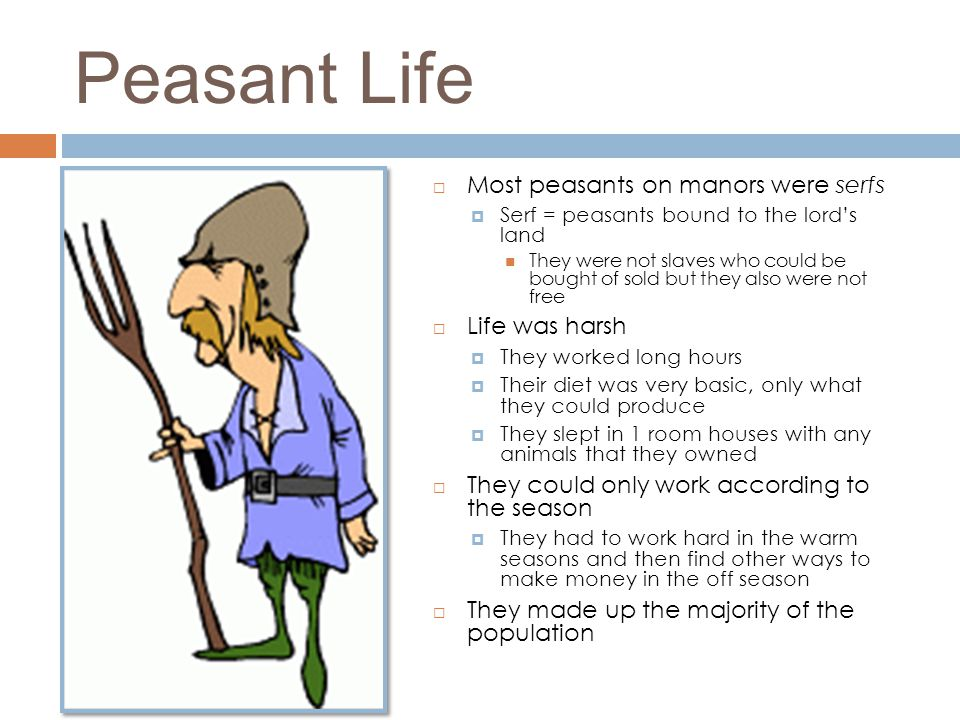 Peasant Life  Most peasants on manors were serfs  Serf = peasants bound to the lord's land They were not slaves who could be bought of sold but they
