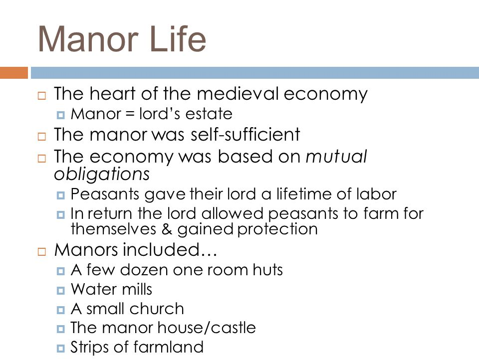 Manor Life  The heart of the medieval economy  Manor = lord's estate  The manor was self-sufficient  The economy was based on mutual obligations 