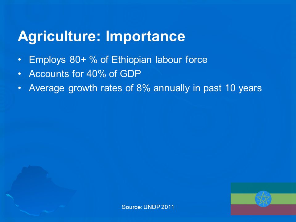 Agriculture: Importance Employs 80+ % of Ethiopian labour force Accounts for 40% of GDP Average growth rates of 8% annually in past 10 years Source: UNDP 2011
