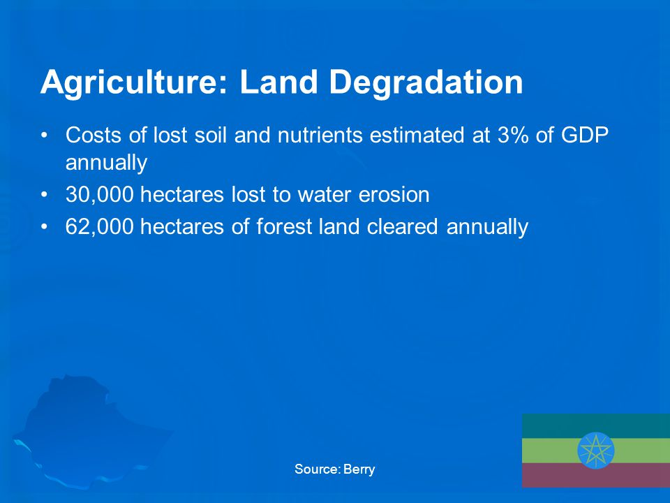Agriculture: Land Degradation Costs of lost soil and nutrients estimated at 3% of GDP annually 30,000 hectares lost to water erosion 62,000 hectares of forest land cleared annually Source: Berry