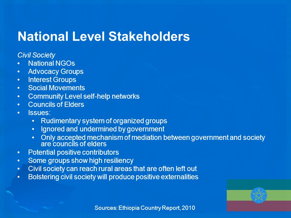 National Level Stakeholders Civil Society National NGOs Advocacy Groups Interest Groups Social Movements Community Level self-help networks Councils of Elders Issues: Rudimentary system of organized groups Ignored and undermined by government Only accepted mechanism of mediation between government and society are councils of elders Potential positive contributors Some groups show high resiliency Civil society can reach rural areas that are often left out Bolstering civil society will produce positive externalities Sources: Ethiopia Country Report, 2010