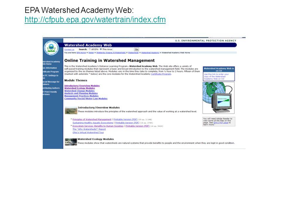 EPA Watershed Academy Web: http://cfpub.epa.gov/watertrain/index.cfm http://cfpub.epa.gov/watertrain/index.cfm
