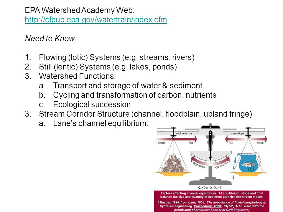 EPA Watershed Academy Web: http://cfpub.epa.gov/watertrain/index.cfm http://cfpub.epa.gov/watertrain/index.cfm Need to Know: 1.Flowing (lotic) Systems