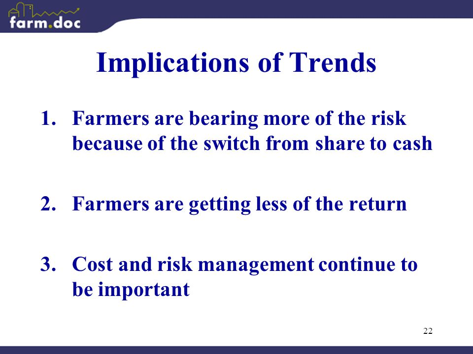 22 Implications of Trends 1.Farmers are bearing more of the risk because of the switch from share to cash 2.Farmers are getting less of the return 3.Cost and risk management continue to be important