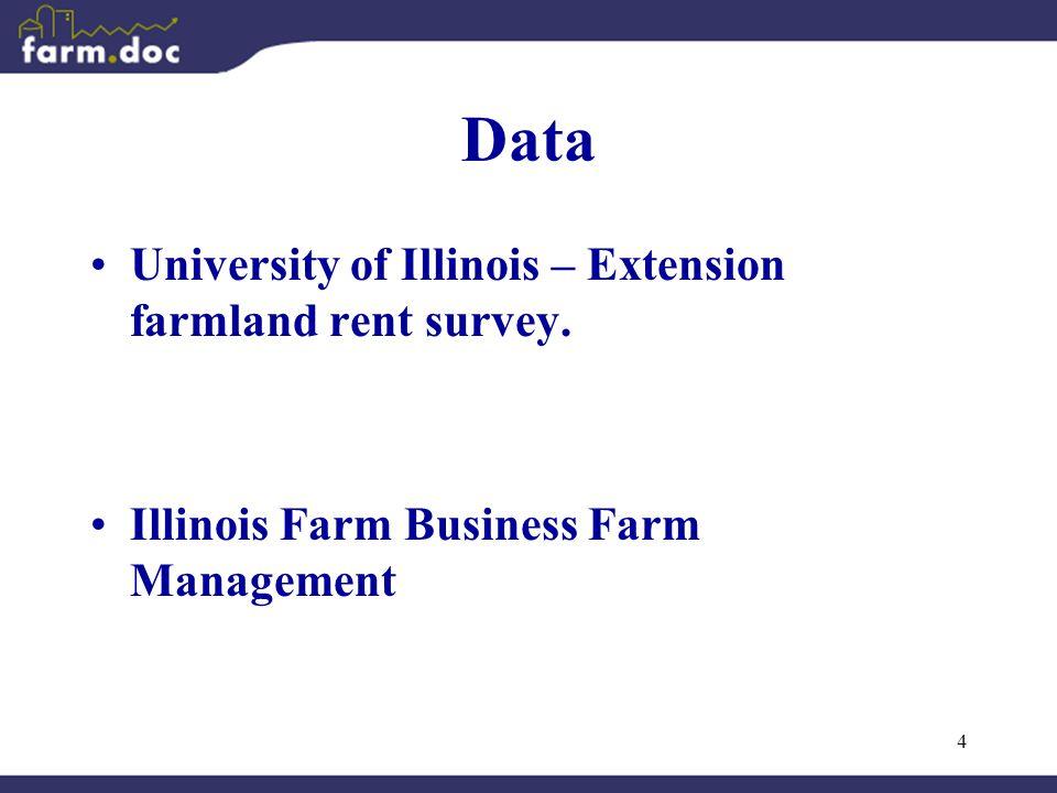 4 Data University of Illinois – Extension farmland rent survey.