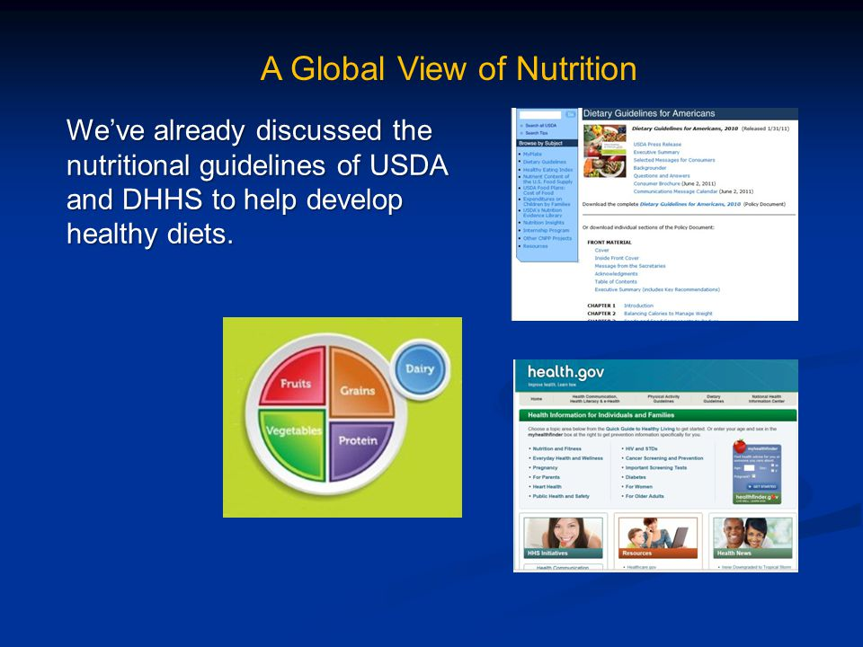 A Global View of Nutrition We've already discussed the nutritional guidelines of USDA and DHHS to help develop healthy diets.