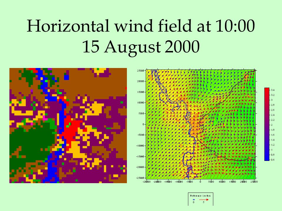 Horizontal wind field at 10:00 15 August 2000