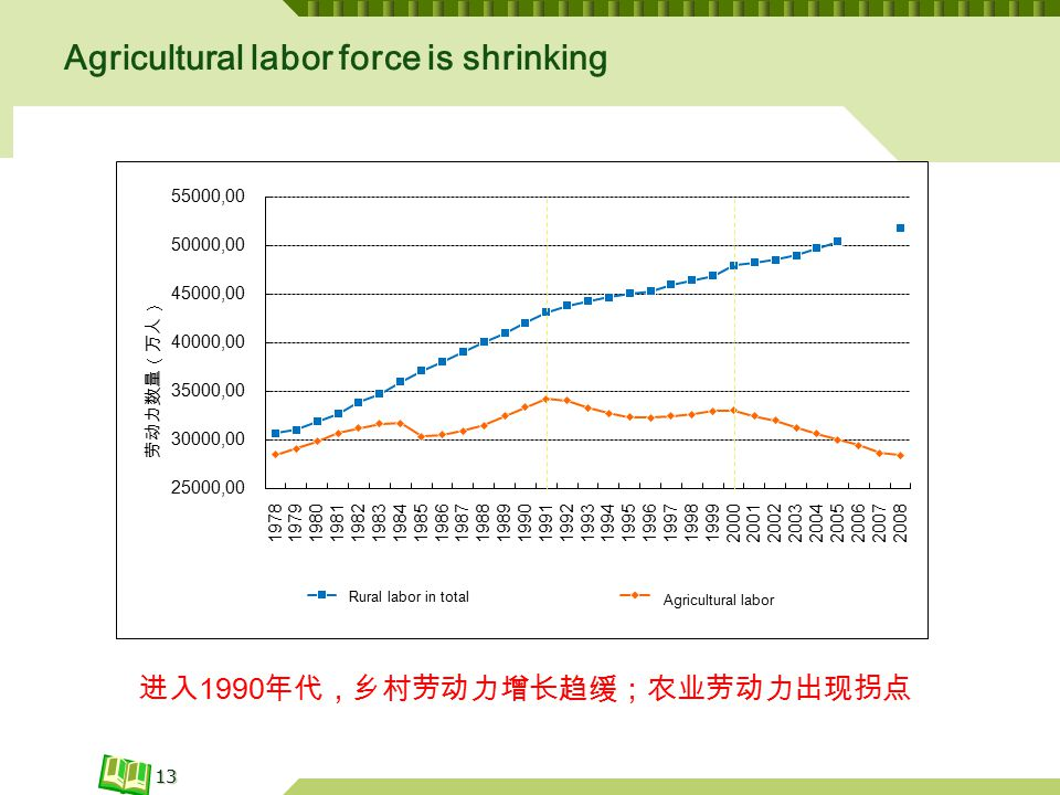 Agricultural labor force is shrinking 13 进入 1990 年代,乡村劳动力增长趋缓;农业劳动力出现拐点 Rural labor in total Agricultural labor