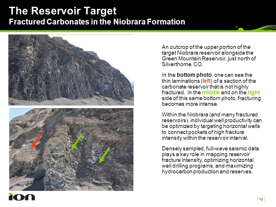 [ 12 ] The Reservoir Target Fractured Carbonates in the Niobrara Formation An outcrop of the upper portion of the target Niobrara reservoir alongside