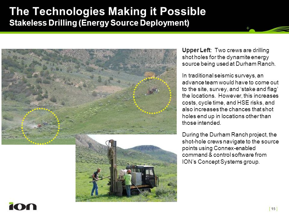 [ 15 ] The Technologies Making it Possible Stakeless Drilling (Energy Source Deployment) Upper Left: Two crews are drilling shot holes for the dynamit