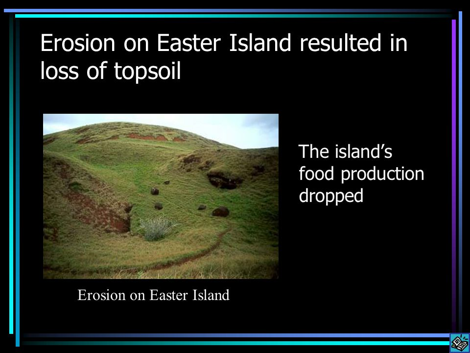 Erosion on Easter Island resulted in loss of topsoil The island's food production dropped Erosion on Easter Island