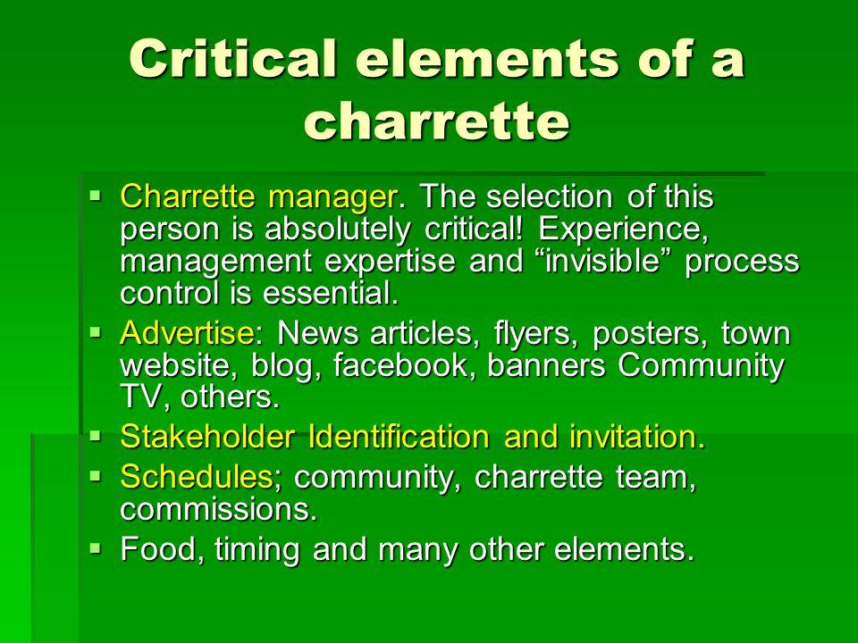 Critical elements of a charrette  Charrette manager.