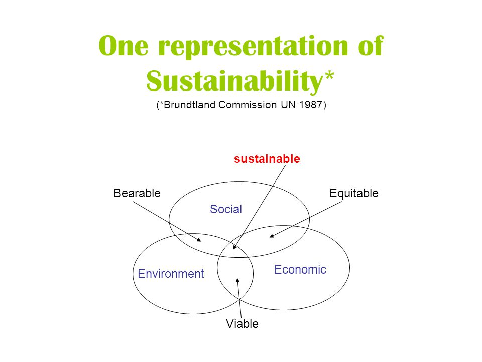 One representation of Sustainability* (*Brundtland Commission UN 1987) Social Environment Economic Bearable Viable Equitable sustainable