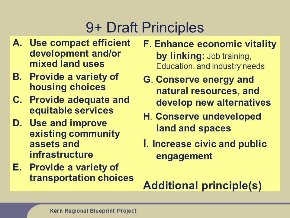 9+ Draft Principles A.Use compact efficient development and/or mixed land uses B.Provide a variety of housing choices C.Provide adequate and equitable services D.Use and improve existing community assets and infrastructure E.Provide a variety of transportation choices F.