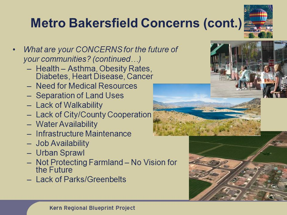 What are your CONCERNS for the future of your communities? (continued…) –Health – Asthma, Obesity Rates, Diabetes, Heart Disease, Cancer –Need for Med