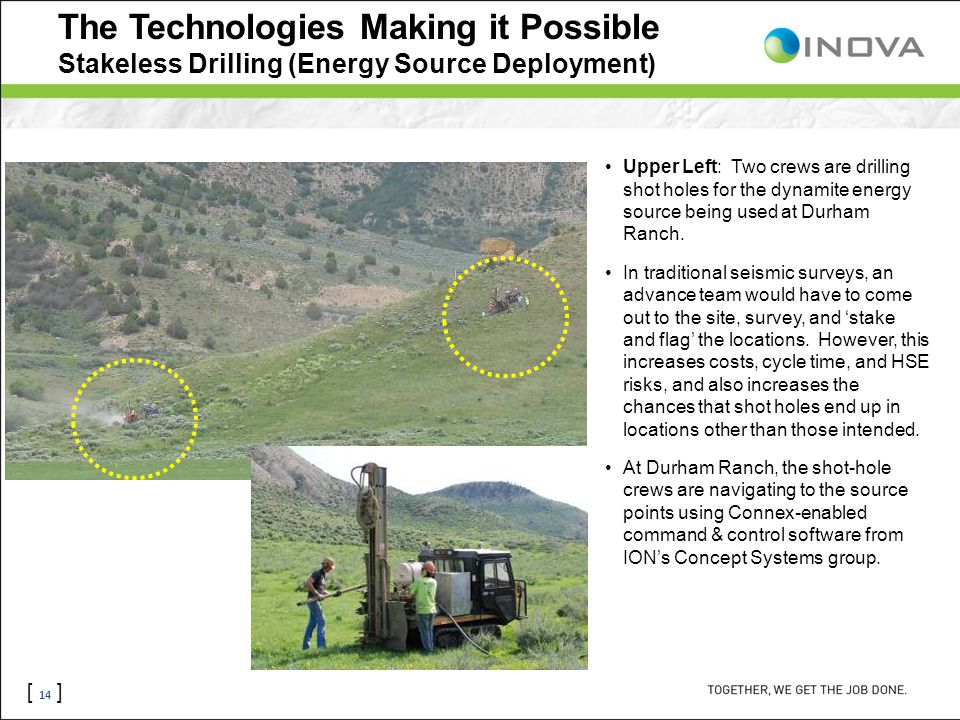 [ 14 ] The Technologies Making it Possible Stakeless Drilling (Energy Source Deployment) Upper Left: Two crews are drilling shot holes for the dynamit