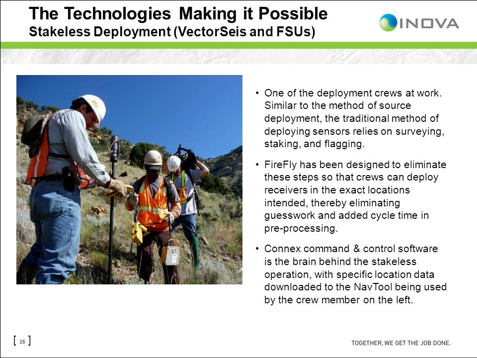 [ 16 ] The Technologies Making it Possible Stakeless Deployment (VectorSeis and FSUs) One of the deployment crews at work.