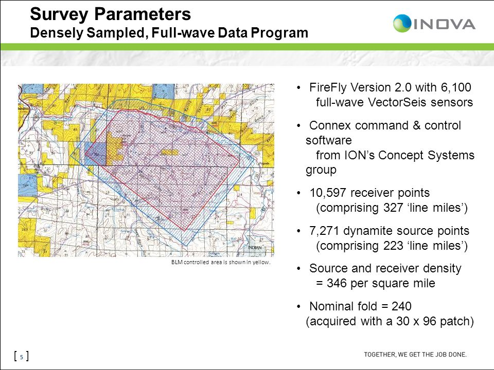 [ 5 ] Survey Parameters Densely Sampled, Full-wave Data Program FireFly Version 2.0 with 6,100 full-wave VectorSeis sensors Connex command & control s