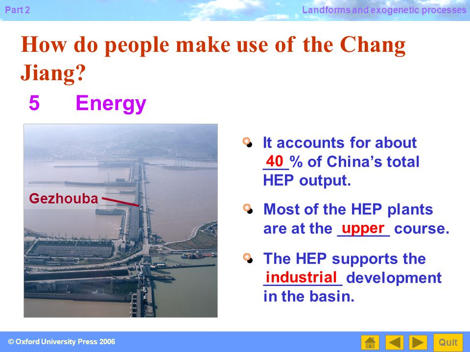 Part 2 Quit © Oxford University Press 2006 Landforms and exogenetic processes How do people make use of the Chang Jiang.