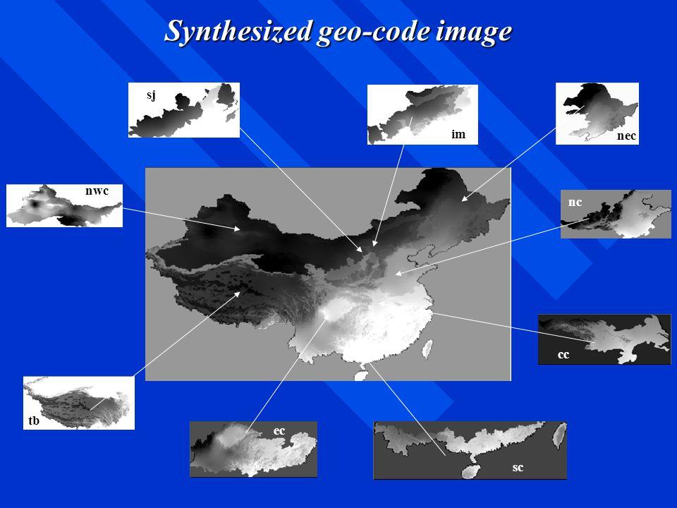 Synthesized geo-code image nwc sj im nec tb ec sc cc nc