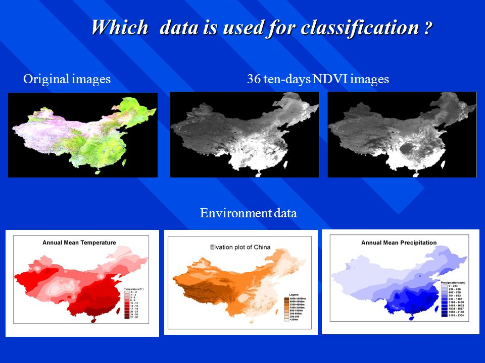 Original images36 ten-days NDVI images Environment data Which data is used for classification