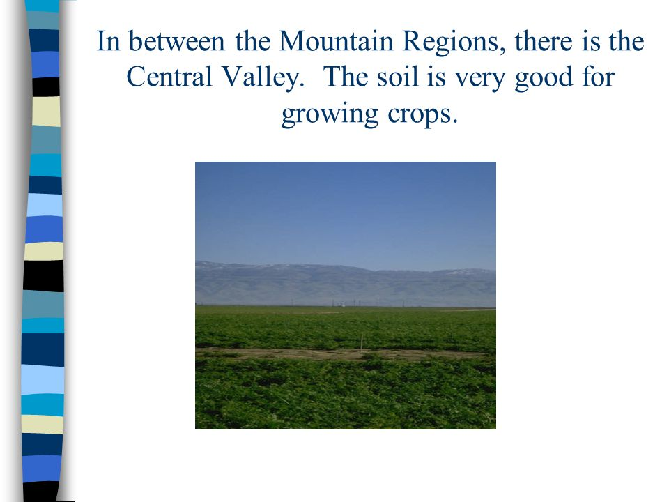 In between the Mountain Regions, there is the Central Valley.