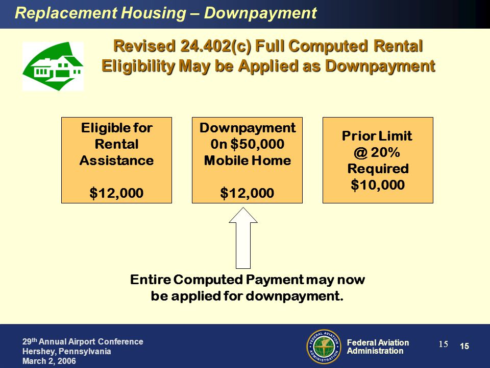 15 Federal Aviation Administration 29 th Annual Airport Conference Hershey, Pennsylvania March 2, 2006 15 Eligible for Rental Assistance $12,000 Downpayment 0n $50,000 Mobile Home $12,000 Prior Limit @ 20% Required $10,000 Entire Computed Payment may now be applied for downpayment.