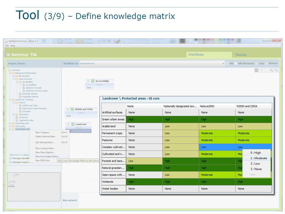 Tool (3/9) – Define knowledge matrix