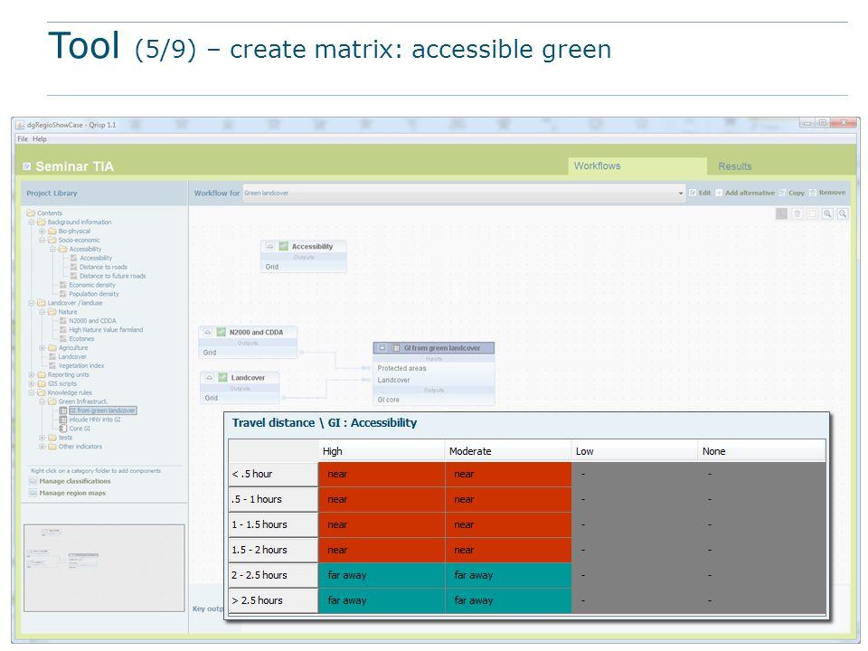 Tool (5/9) – create matrix: accessible green