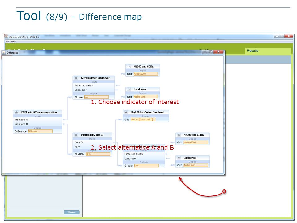Tool (8/9) – Difference map 1. Choose indicator of interest 2. Select alternative A and B