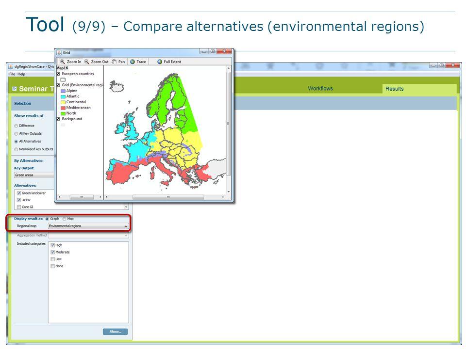 Tool (9/9) – Compare alternatives (environmental regions)