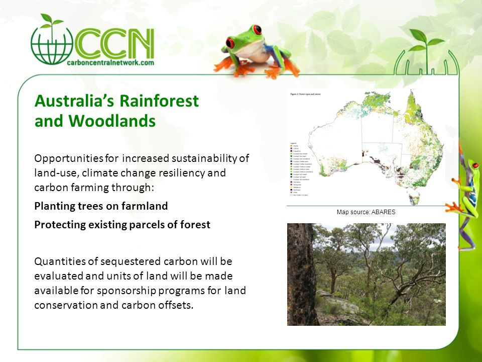 Australia's Rainforest and Woodlands Opportunities for increased sustainability of land-use, climate change resiliency and carbon farming through: Pla