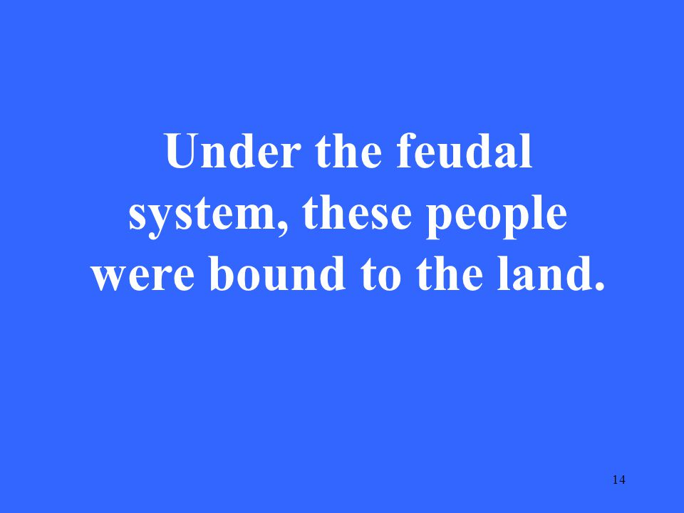 14 Under the feudal system, these people were bound to the land.