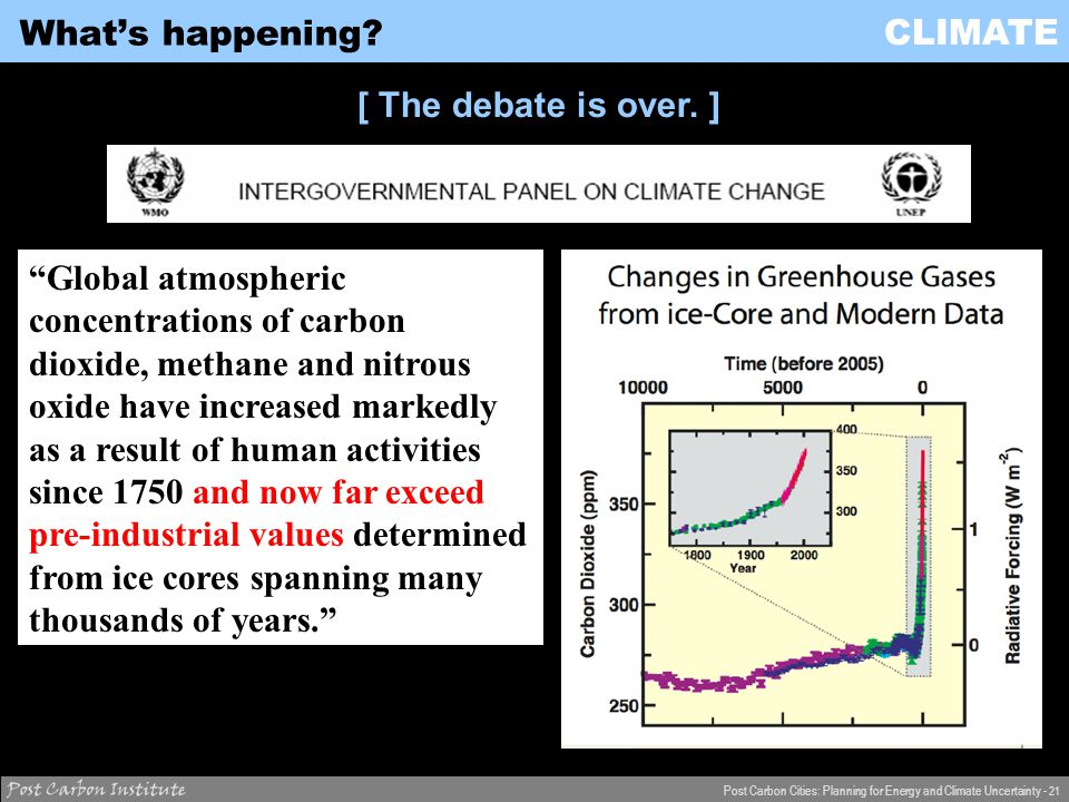 CLIMATE Post Carbon Cities: Planning for Energy and Climate Uncertainty - 21 What's happening.