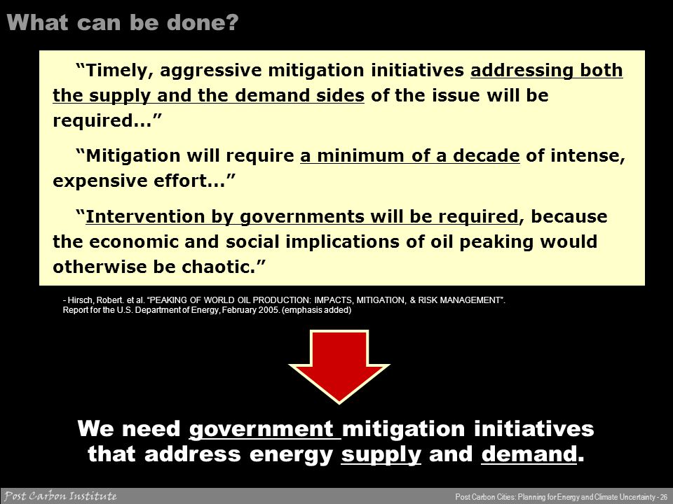 ENERGY Post Carbon Cities: Planning for Energy and Climate Uncertainty - 26 What can be done about it.