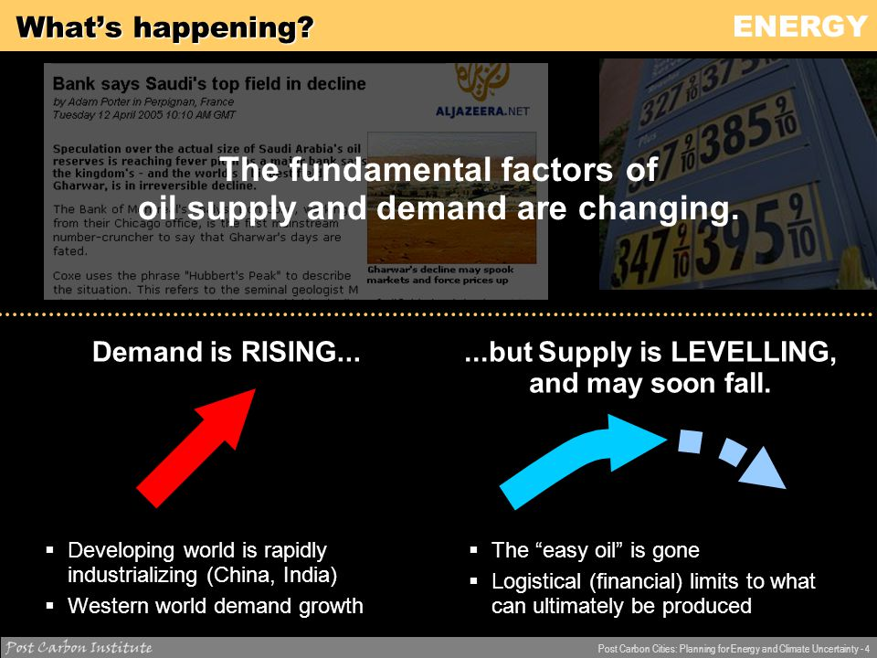 ENERGY Post Carbon Cities: Planning for Energy and Climate Uncertainty - 5 What's happening.